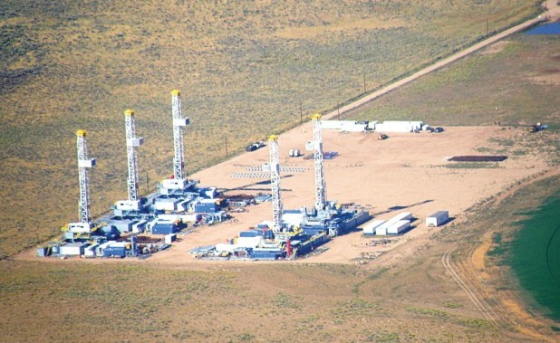Frackin' Wells! Natural gas drilling is exempt from environmental laws like the Clean Water Act, Clean Air Act and Safe Drinking Water Act. Photo: Courtesy Ecoflight