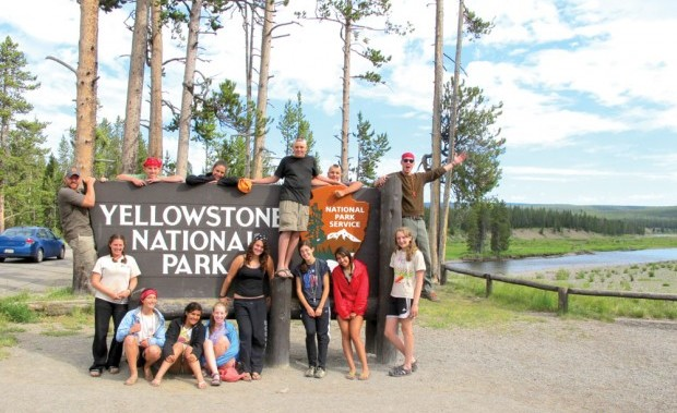 American Classic: Every good road trip ends up with a group shot in Yellowstone. Photo: Chris Schuhmann