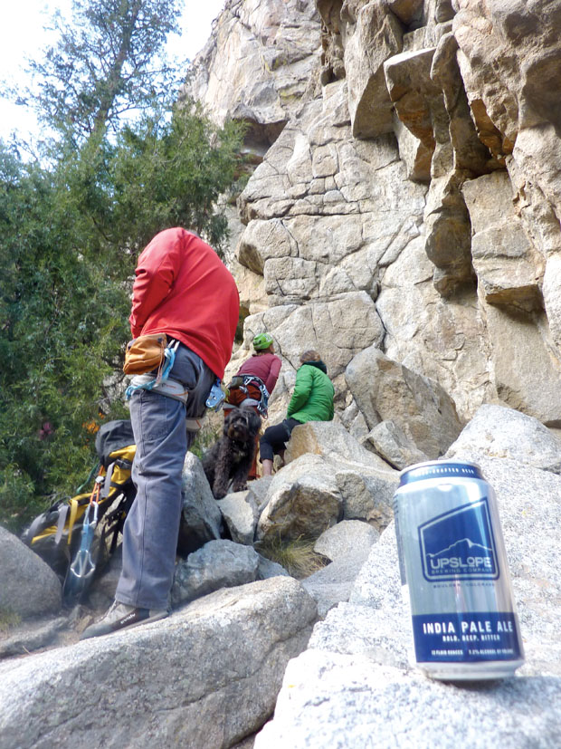 Bolts and Brews: An Upslope india pale ale waits patiently for its owners to finish climbing. Photo: Randy Gresham.