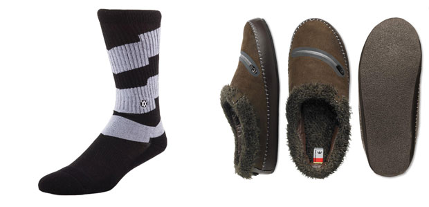 Socks from Stance and slippers from Freewaters