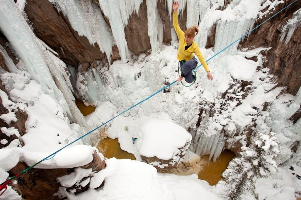 Libby Sauter slacklining in Ouray, CO.