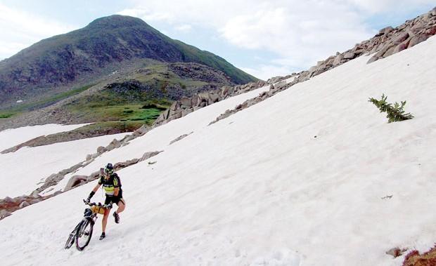Sonya hike a biking in the snow. Photo: Jeff Kerkove