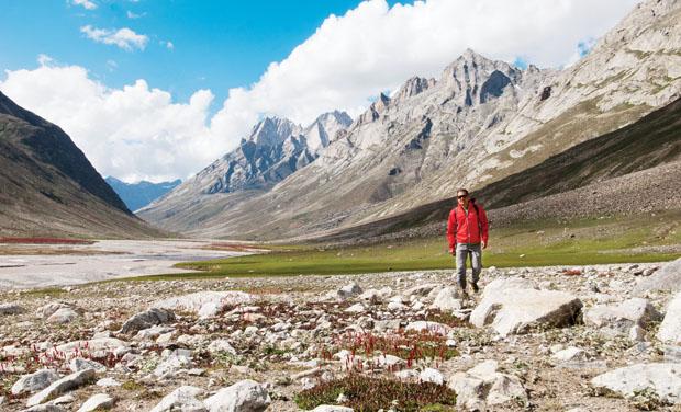 Into the Mystic:Pete Takeda treks in India's Miyar Valley, headed to the Zanskar Traverse. Photo: Mick Follari