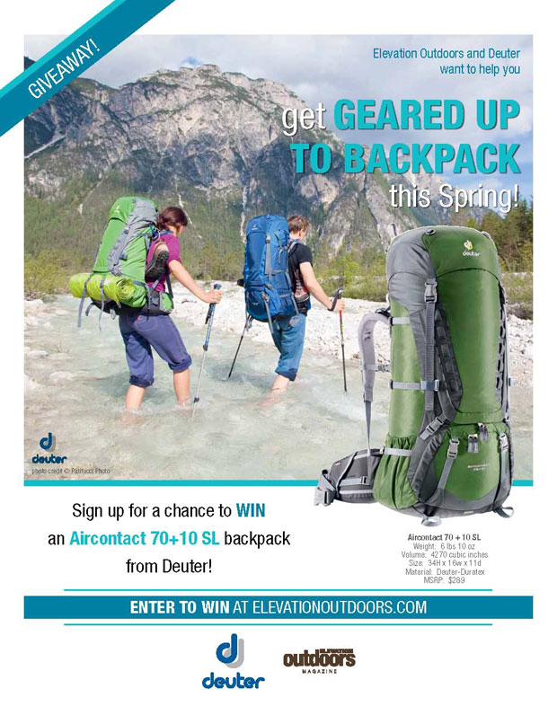 Enter to win a Deuter backpack from Elevation Outdoors