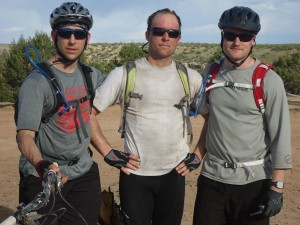 Doug, Chris, and Mike after the Day 1 PM ride, brazing and surviving he heat.