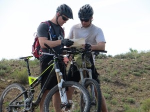 Mike and Chris navigate the trail via numerous maps and a GPS unit