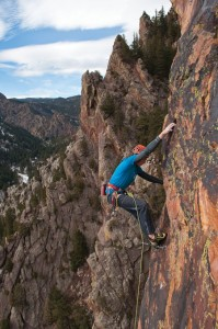 Sweet Bud or Skank? Scott Bennett enjoys inhaling some exposure on the classic Doub-Griffith (5.11c) in Eldorado Canyon. Photo: Jon Kepley
