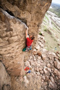 I Hope You Like Jammin':  Peter Holben gets his hands into Frank's Wild Years (5.11) at Golden's Quarry Wall. Photo: John Lloyd/johnlloydphoto.com