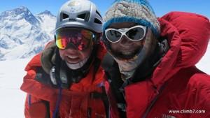 Matt Moniz and Willie Benegas while climbing.