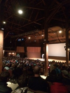 Crowded house on a rainy night for the world premiere of Valley Uprising. Photo By Hudson Lindenberger