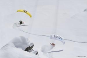 JT Holmes and Ueli Kestenhotz speed-riding the Alps Credit: Warren Miller Entertainment