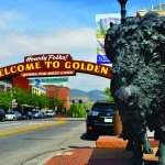 Downtown Golden with buffalo