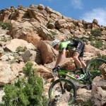 Grand Junction Off-Road champion Alex Grant navigates down one of the rocky descents during the professional 40-Grand race May 30.