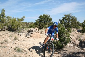 Women's Grand Junction Off-Road champion Katerina Nash sails around a corner on her road to victory.