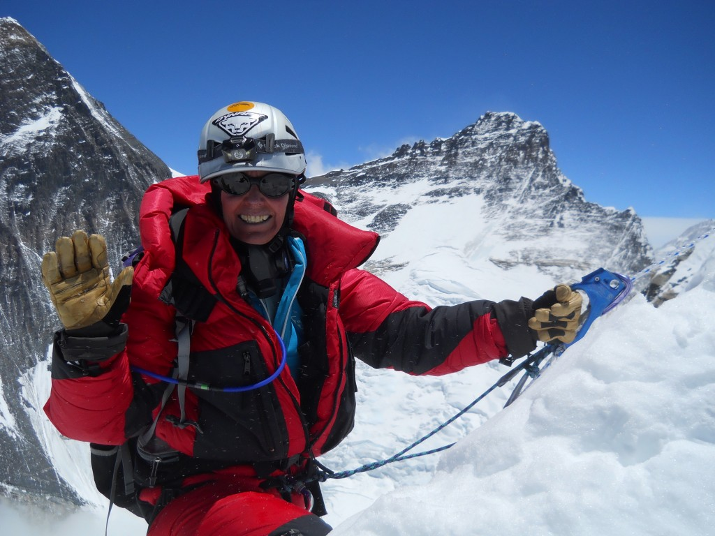 Mountaineer Ellen Miller climbing in the Everest region of Nepal.