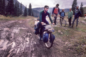 Mike Rust pedaling one of his early handmade mountain bikes over Pearl Pass, Crested Butte Colorado. Circa 1981. Photo – Frank Staub