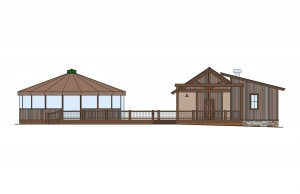 The design for the umbrella bar installation at Ten Peaks.