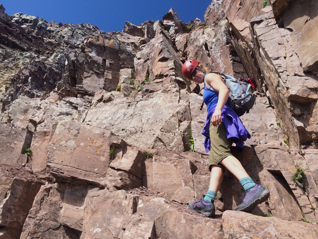 Ascending the steep and rocky Pyramid Peak in Colorado with the Women's Arc'teryx Acrux FL GTX Approach hiking shoes.