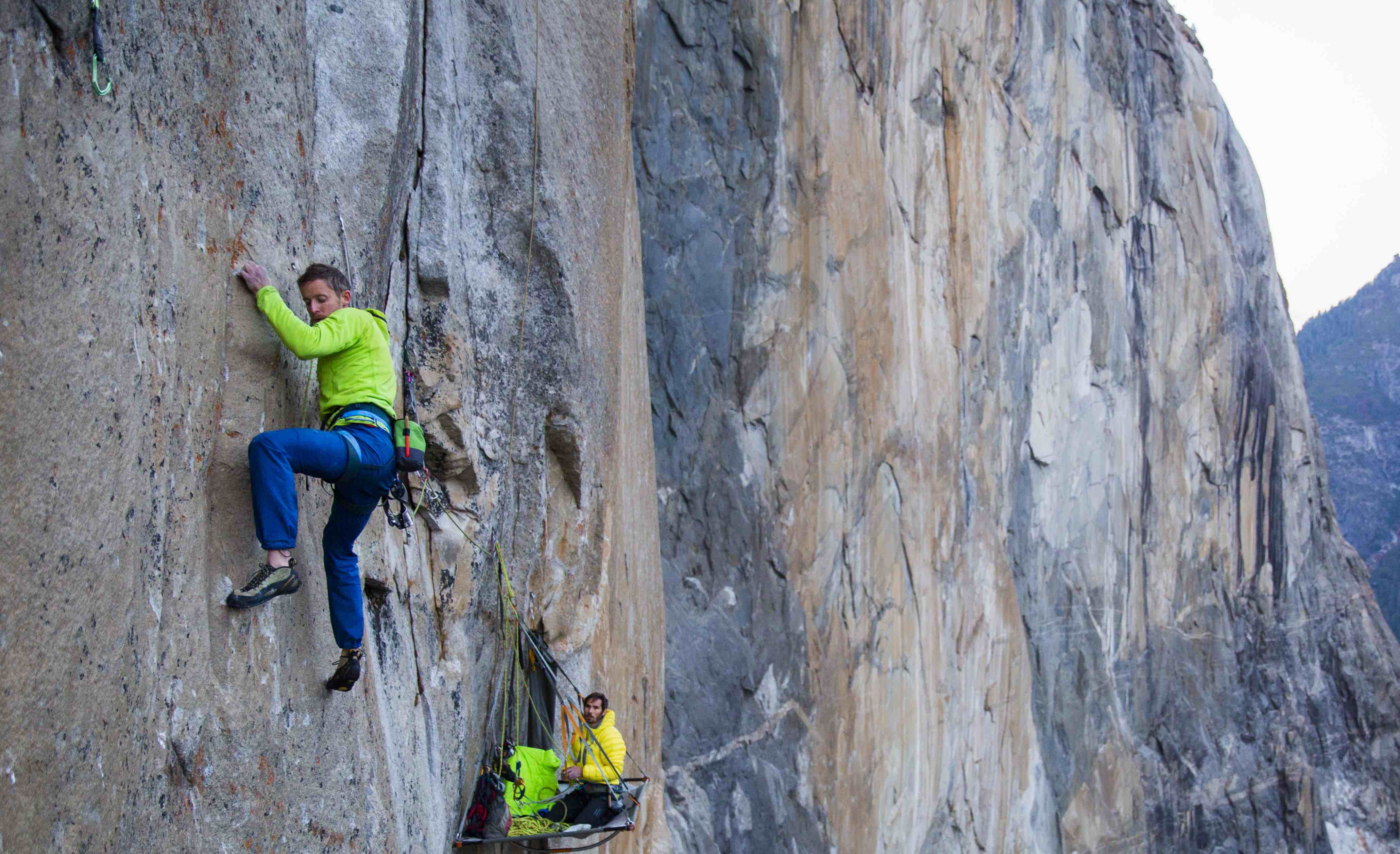 Tommy Caldwell on the first free ascent of the Dawn Wall, Yosemite Valley.