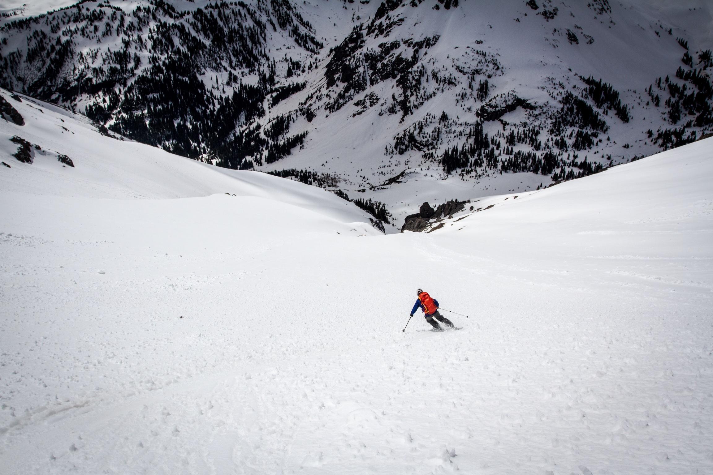 Skiing back into Yankee Boy Basin. Photo: TJ David