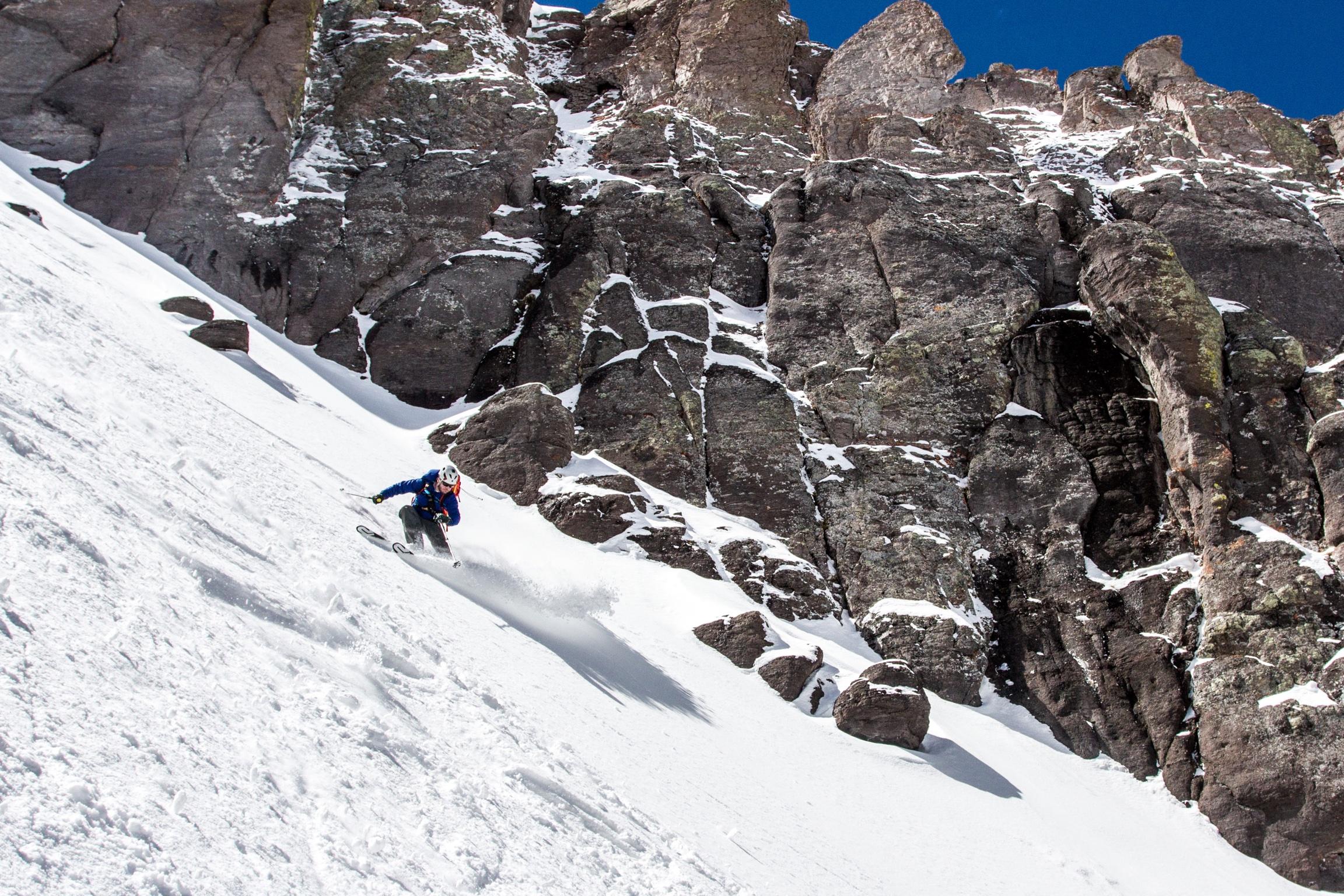 Dropping into the North Couloir of Potosi Peak. Skier: Jon Jay. Photo: TJ David