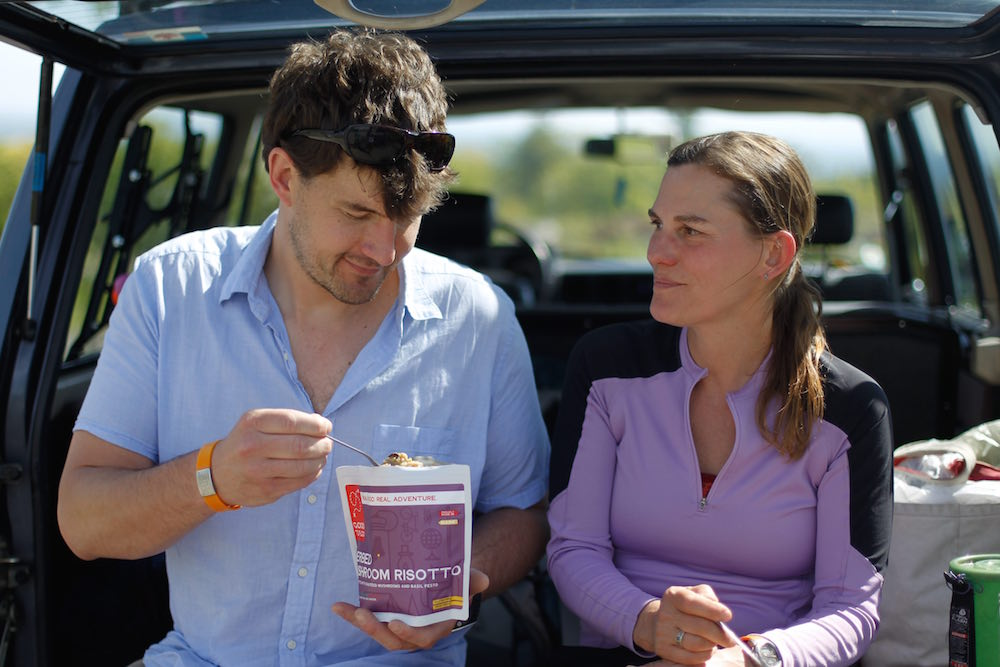Jen and David enjoy their Good To-Go foods on a recent adventure. Photo by Tayler Aubin.