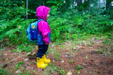 Rosie puts her wet weather summer gear to use.